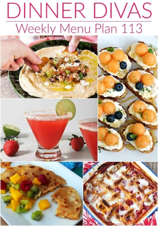 Collage for Dinner Divas Weekly Meal Plan 113, featuring five of the seven recipes featured