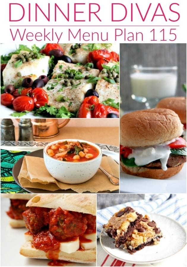 Collage for Dinner Divas Weekly Meal Plan 115, featuring five of the seven recipes used