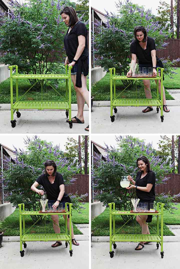 A woman puts together a bar cart in a collage, part 1 of 2
