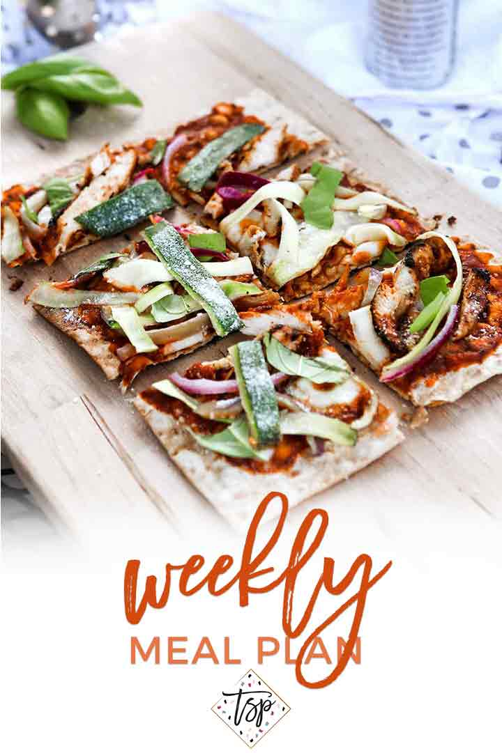 Pinterest photo for Dinner Divas Weekly Meal Plan 112, featuring a shot of the Grilled BBQ Chicken Flatbread