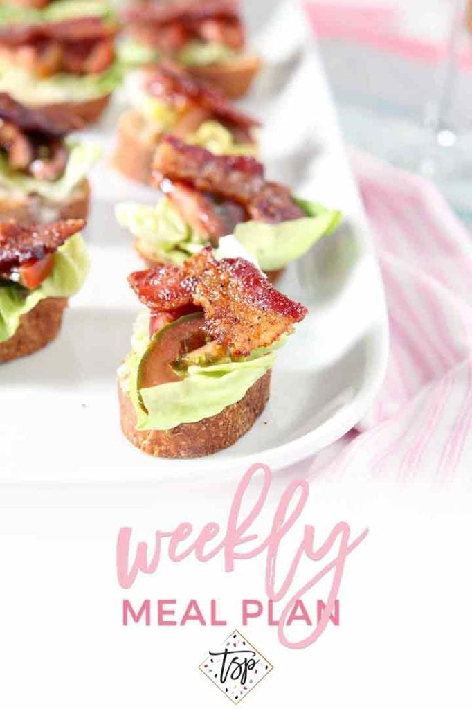 Pinterest photo for Dinner Divas Weekly Meal Plan 114, featuring a shot of the BLT Bruschetta