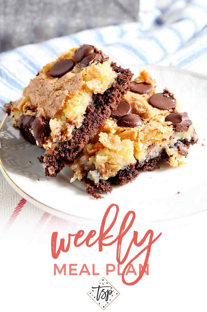 Pinterest photo for Dinner Divas Weekly Meal Plan 115, featuring a shot of the Ooey Gooey Bars