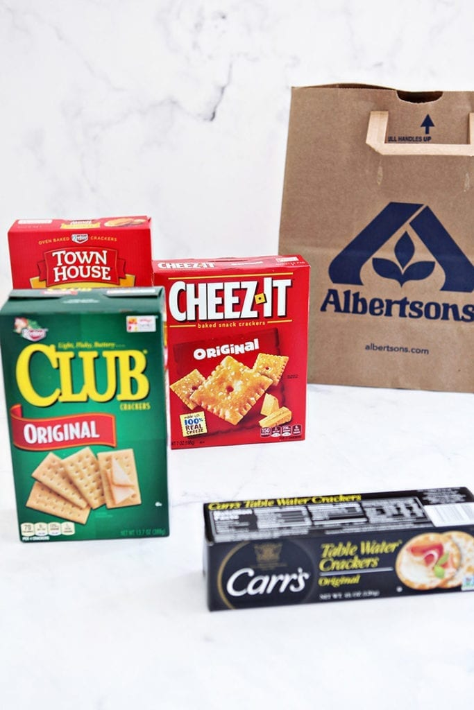 All four cracker types are shown with an Albertsons bag