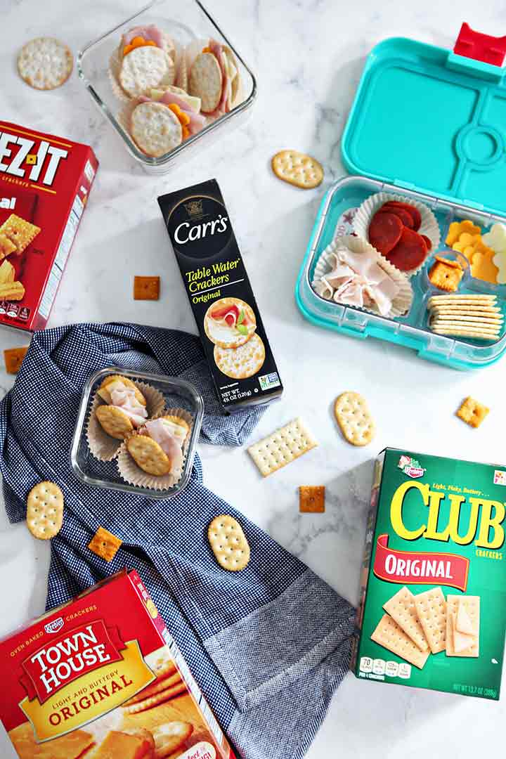 Summer snack kits are shown from above with cracker boxes