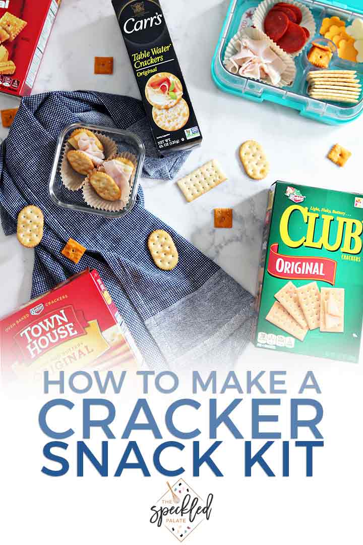 Pinterest graphic featuring a close up of a homemade cracker snack kit and Pinterest text