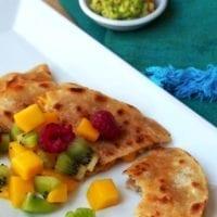 Tuesday's Dinner: Garlic Pork Quesadillas with Mango Salsa