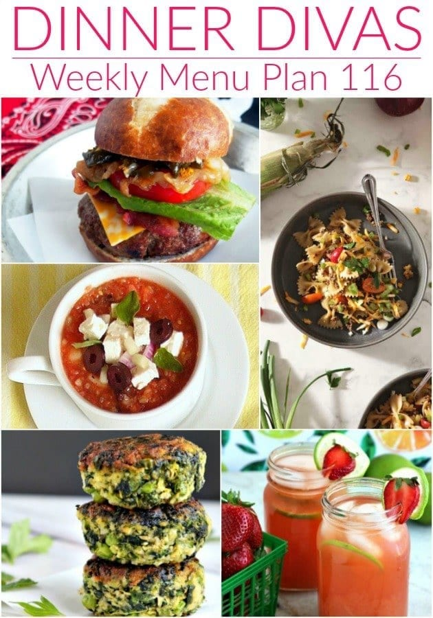 Collage for Dinner Divas Weekly Meal Plan 116, featuring five of the seven recipes in the menu
