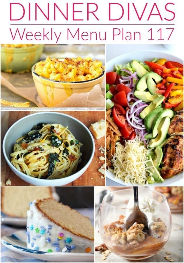Collage for Dinner Divas Weekly Meal Plan 117, featuring five of the seven recipes