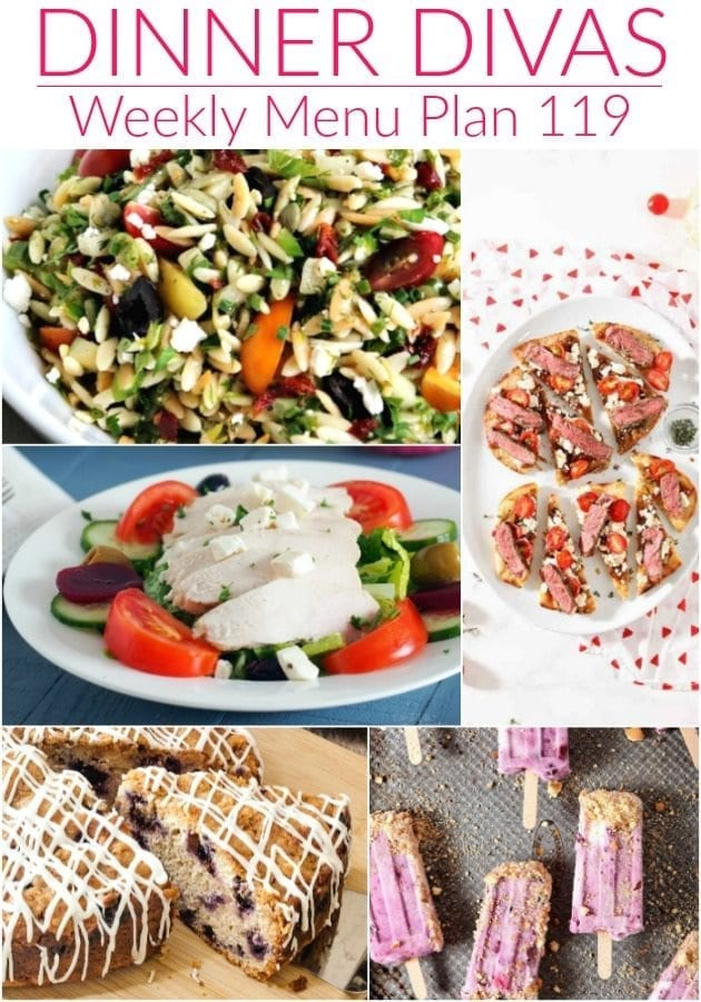 Collage for Dinner Divas Weekly Meal Plan 119, featuring five of the seven recipes shared