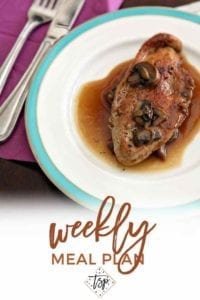Pinterest photo for Dinner Divas Weekly Meal Plan 118, featuring a shot of Turkey Scaloppini