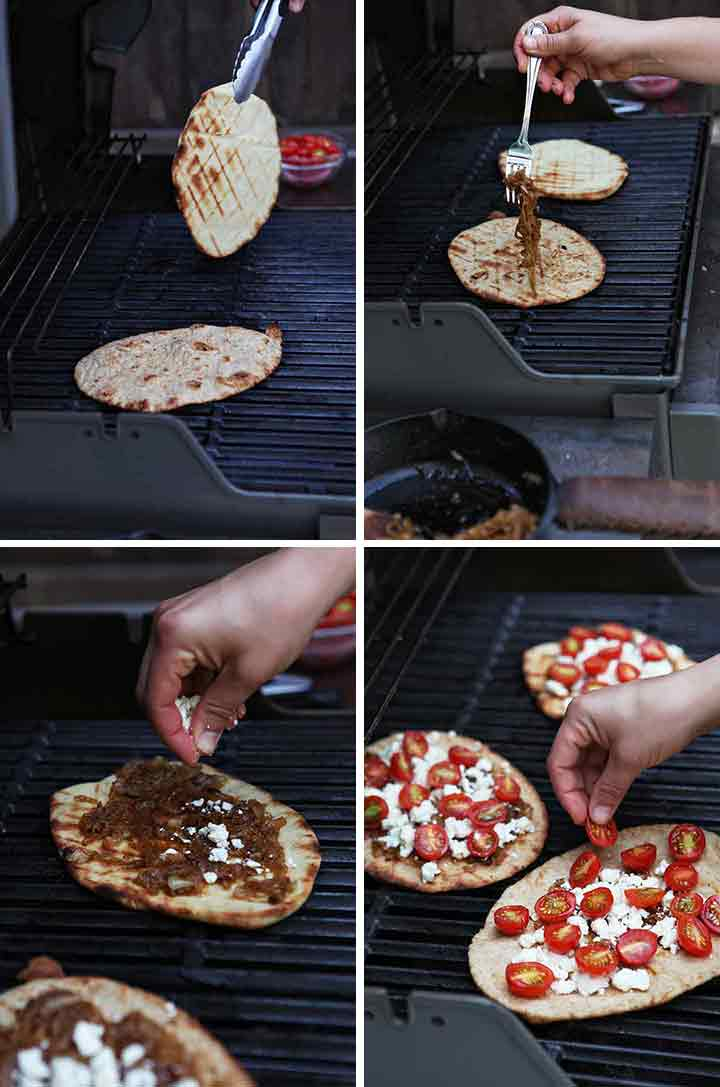 A collage shows how to put together the flatbread pizza recipe on the grill