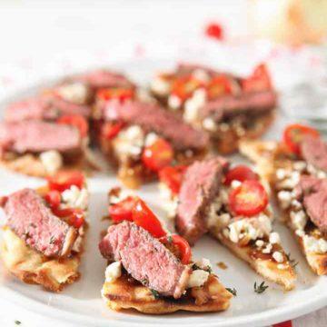 Close up of Grilled Steak Flatbread, sliced