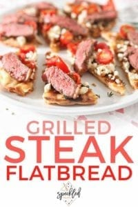 Pinterest image of a close up of Grilled Steak Flatbread, featuring Pinterest text