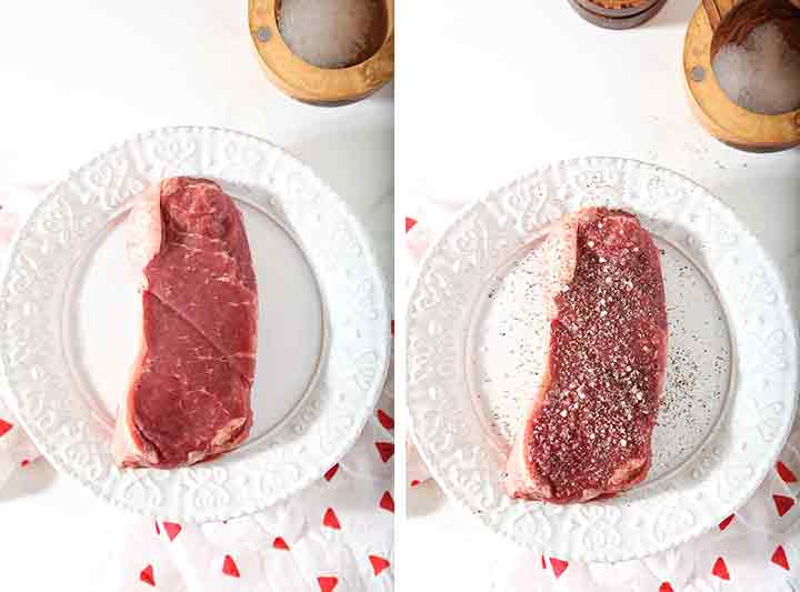 A collage of 2 images showing how to season the steak