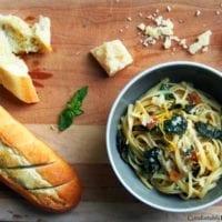 Tuesday's Dinner:Lemon Garlic Linguine with Kale