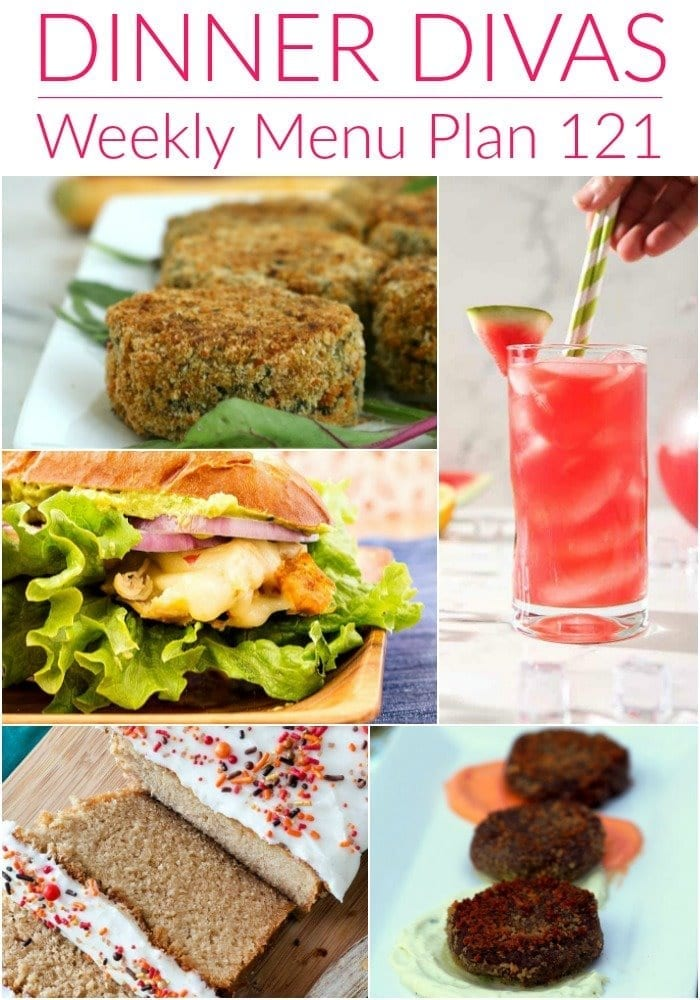 Collage for Dinner Divas Weekly Meal Plan 121, featuring five of the seven recipes on the menu
