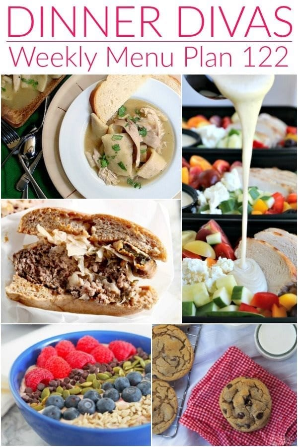 Collage for Dinner Divas Weekly Meal Plan 122, featuring five of the seven recipes featured