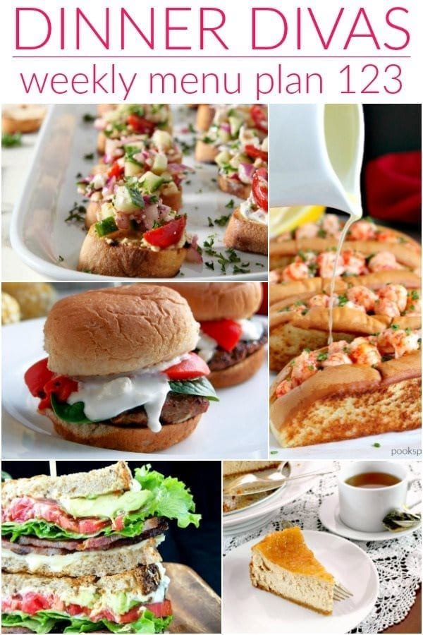 Collage for Dinner Divas Weekly Meal Plan 123, featuring five of the seven recipes shared