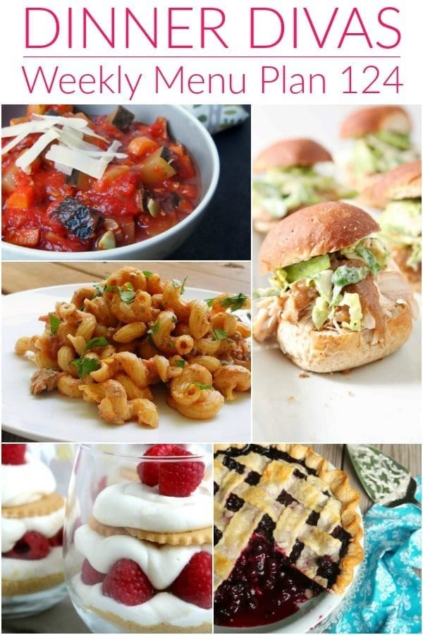 Collage for Dinner Divas Weekly Meal Plan 124, featuring five of the seven recipes shared