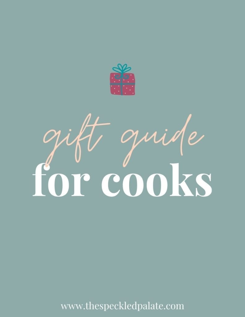 Graphic with the text 'gift guide for cooks' that includes a small present at the top on a aqua background
