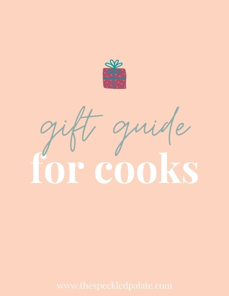 Graphic with the text 'gift guide for cooks' that includes a small present at the top on a peach background