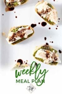 Pinterest photo for Dinner Divas Weekly Meal Plan 121, featuring a shot of Tuna Pesto Crostini