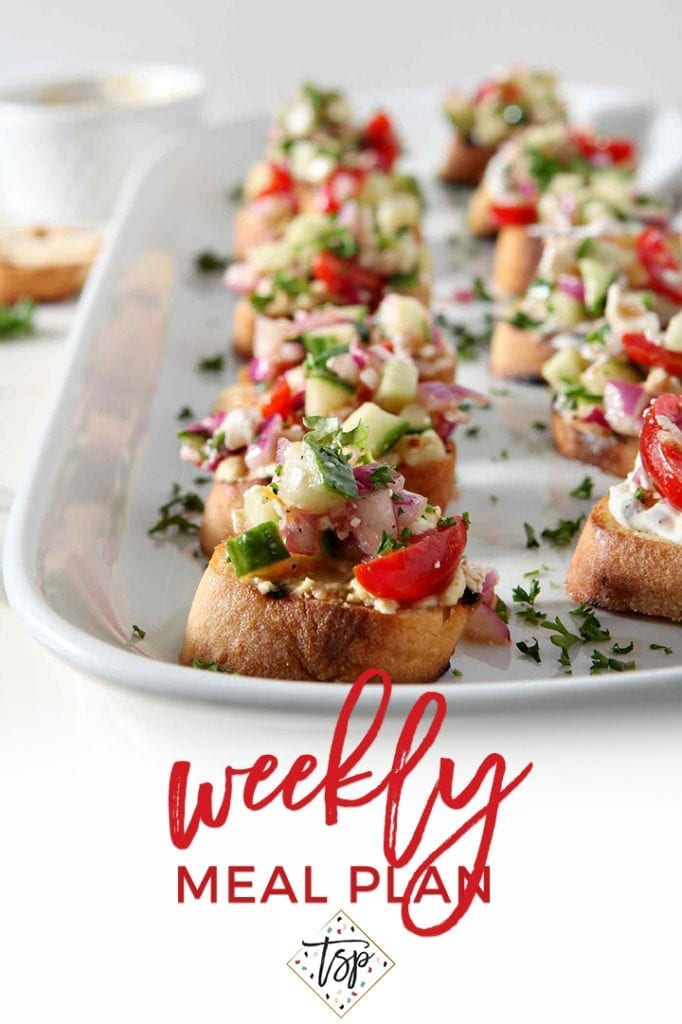 Pinterest photo for Dinner Divas Weekly Meal Plan 123, featuring a shot of Sauerkraut Burgers with Greek Bruschetta