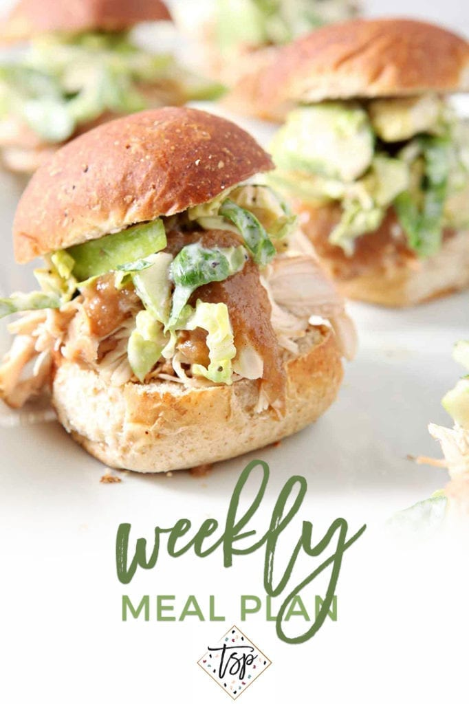 Pinterest photo for Dinner Divas Weekly Meal Plan 124, featuring a shot of Apple Pulled Chicken Sliders with Brussels Sprouts Apple Slaw