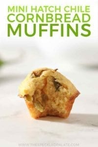 Pinterest graphic, featuring a close up of a Hatch Chile Mini Cornbread Muffin, bitten into, and with text