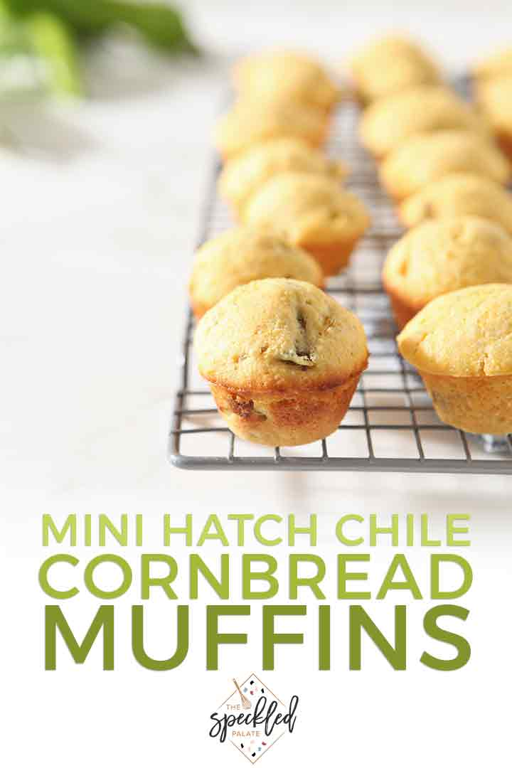 Pinterest graphic, featuring mini cornbread muffins on a wire cooling rack and text