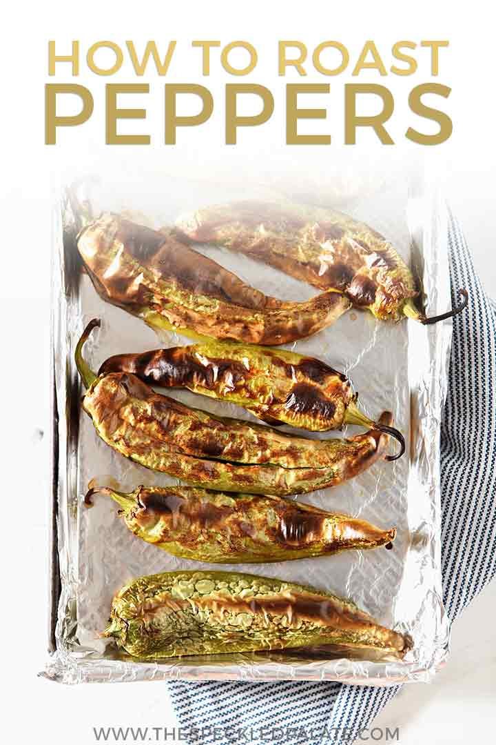 Roasted Peppers from above on a baking sheet, with Pinterest text