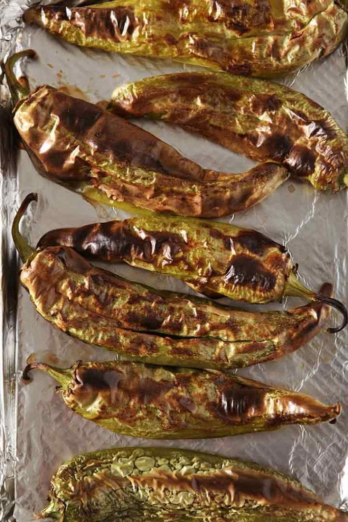 Roasted peppers on a baking sheet