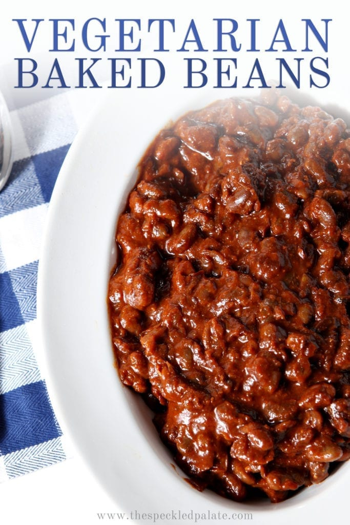 A bowl of Instant Pot Vegetarian Baked Beans are shown, with Pinterest text