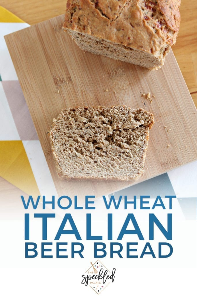 Pinterest image for Italian Beer Bread, featuring a close up of a slice of bread and text
