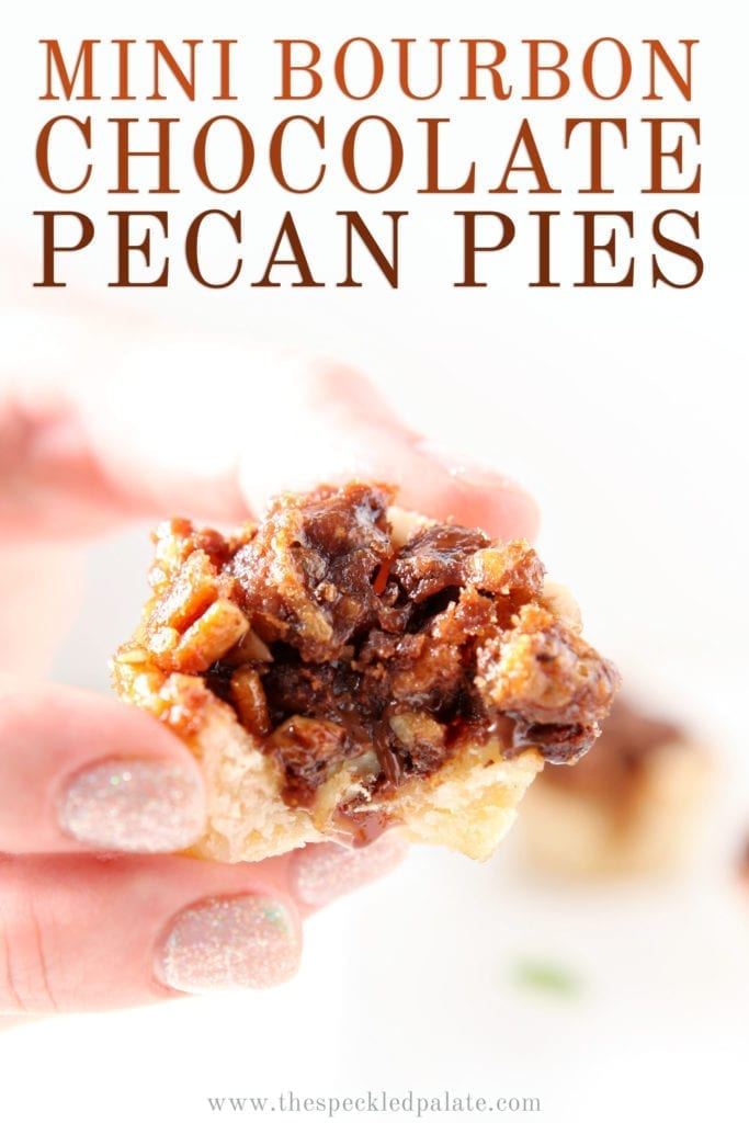 A woman holds a Mini Bourbon Chocolate Pecan Pie between her fingers, with Pinterest text