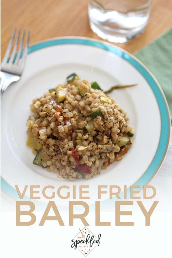 Pinterest image for Veggie Fried Barley, featuring a close up of the dish and text