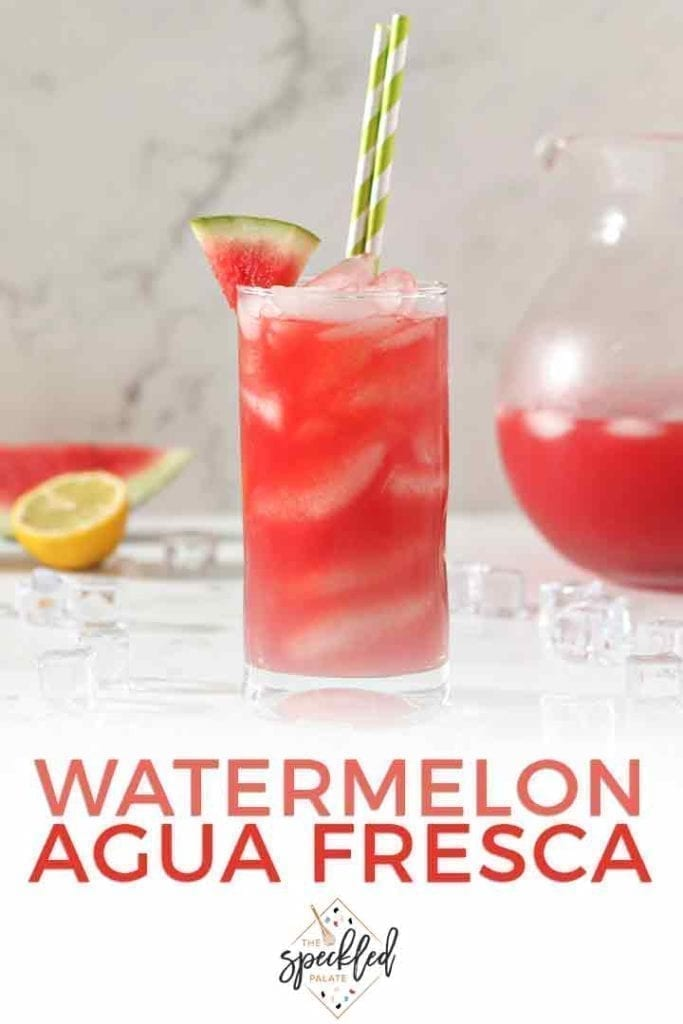 Cool off with a glass of Watermelon Agua Fresca! This light and refreshing drink is perfect for entertaining and keeping the kids hydrated on summer afternoons. Calling for just four ingredients, this recipe is easy to make and enjoy! | Mocktail | Nonalcoholic Drink | #watermelon #drink #speckledpalate