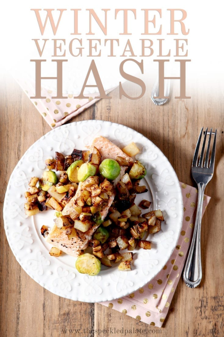 Winter Vegetable Hash is the perfect side dish for any wintertime dinner! This hash features winter veggies like potato, purple turnip and Brussels sprouts and pairs with a tart Granny Smith apple hash to top your favorite protein. #easyentertaining #speckledpalate