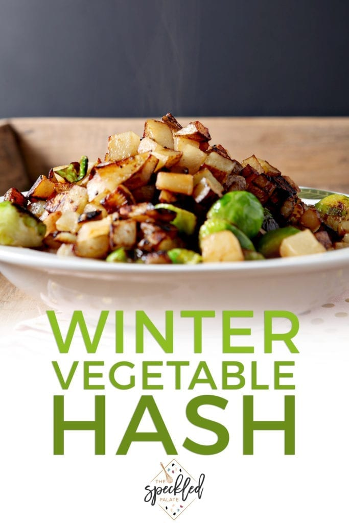 Steam rises from a bowl of Winter Vegetable Hash, with Pinterest text