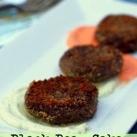 Tuesday's Dinner: Black Bean Cakes with Fire Roasted Red Pepper and Jalapeno Cream