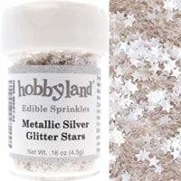 Hobbyland Edible Metallic Silver Glitter Stars