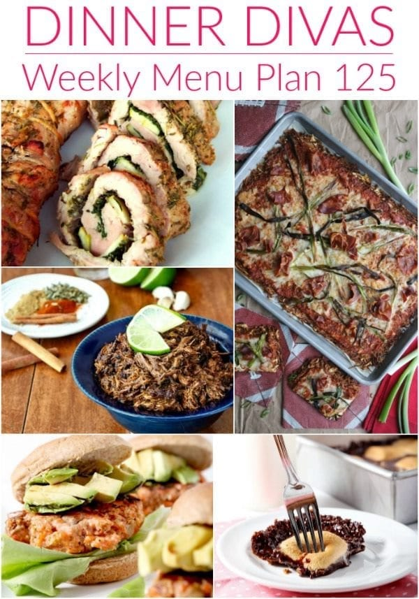 Collage for Dinner Divas Weekly Meal Plan 125, featuring five of the seven recipes shared