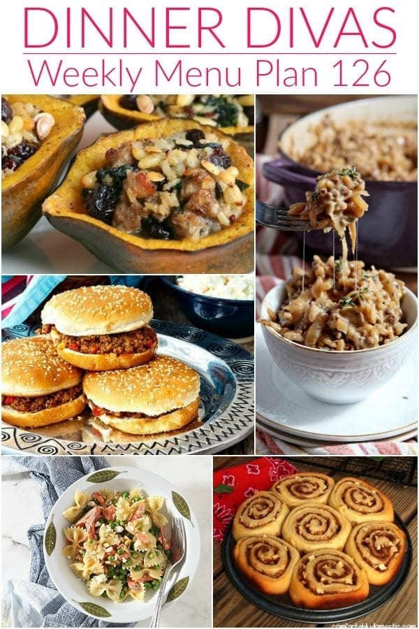 Collage for Dinner Divas Weekly Meal Plan 126, featuring five of the seven recipes shared