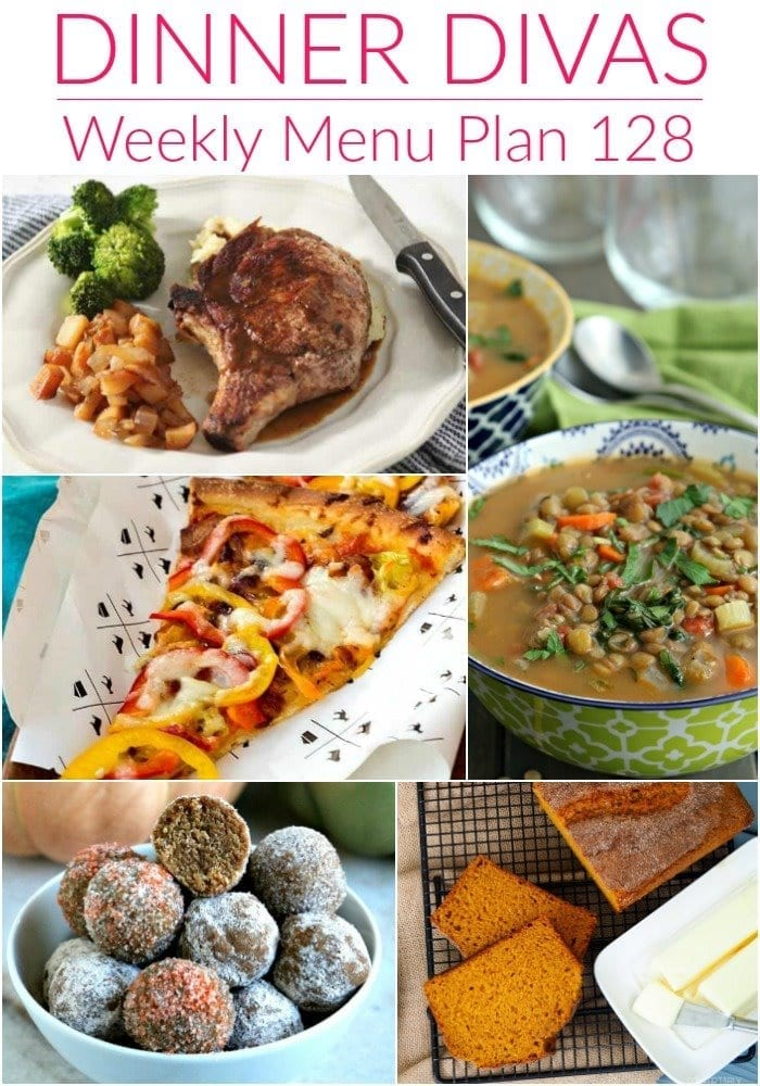 Collage for Dinner Divas Weekly Meal Plan 128, featuring five of the seven recipes shared