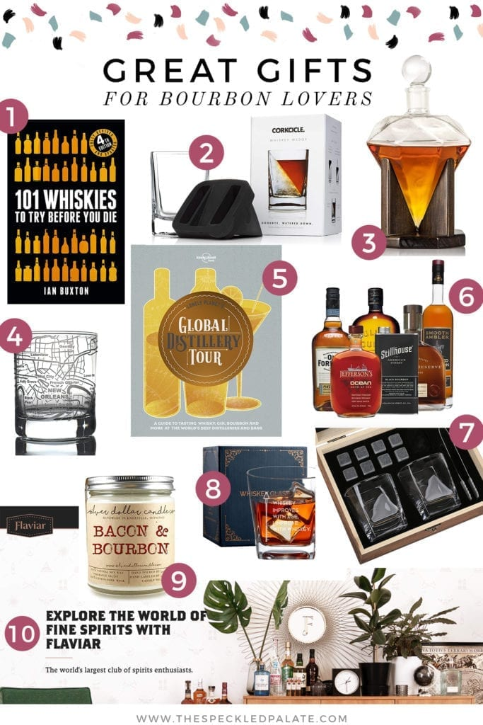 Collage of all the Great Gifts for Bourbon Lovers