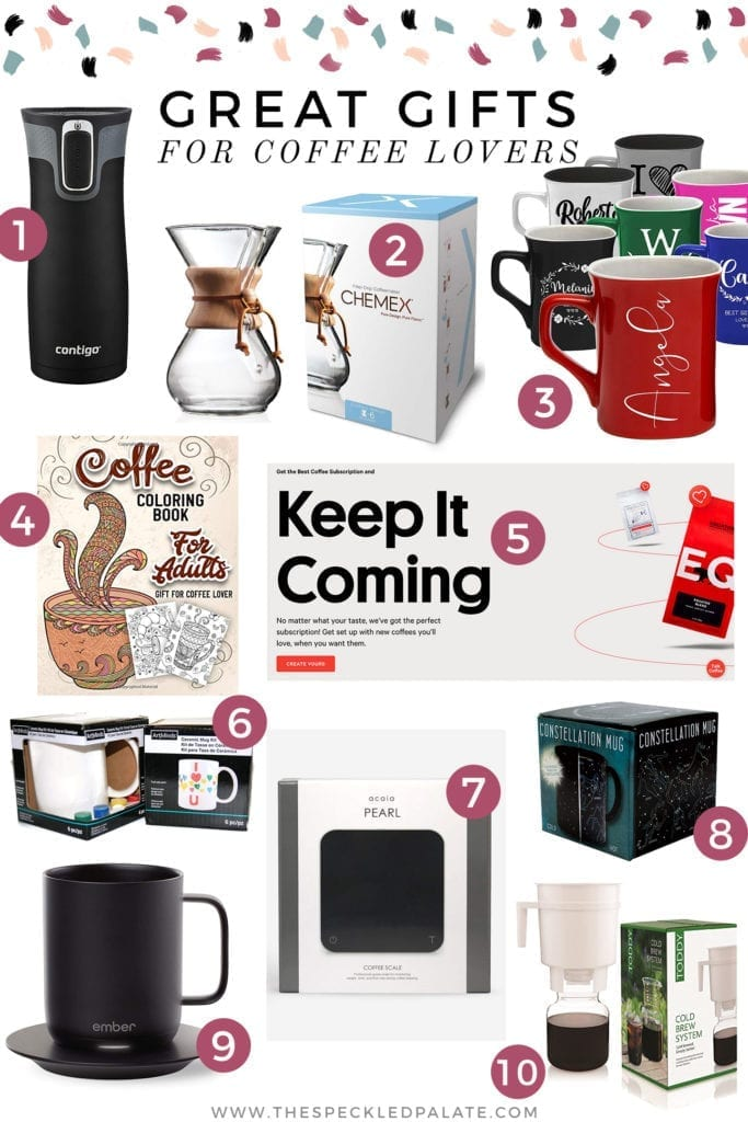Collage of gift guide for coffee lovers