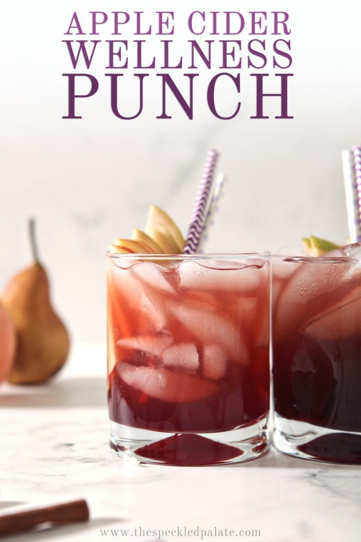 Individual Apple Cider Punch with Sambucus is a flavorful nonalcoholic fall drink. Made with apple cider, pear juice, homemade cinnamon simple syrup and elderberry syrup, this mocktail is delicious and good for your immune system. #ad #speckledpalate