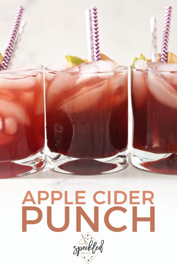 Three glasses of Individual Apple Cider Punch with Sambucus are shown, with Pinterest text