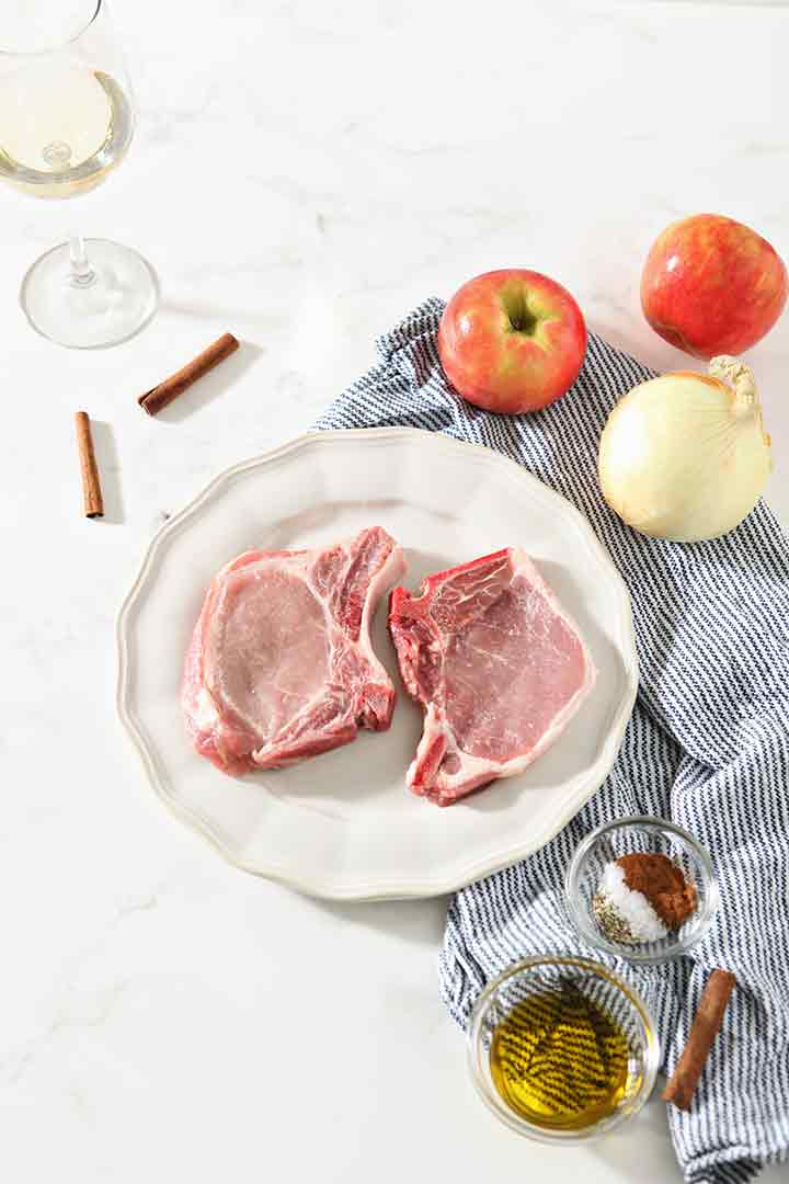 Ingredients for Pork Chops with Caramelized Apples and Onions