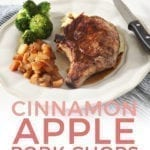 Close up of a plate of Cinnamon Apple Pork Chops, with Pinterest text